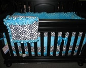 White-Black  Minky Crown with Turquoise  Baby Bedding Set 4- Piece Crib Bedding Set