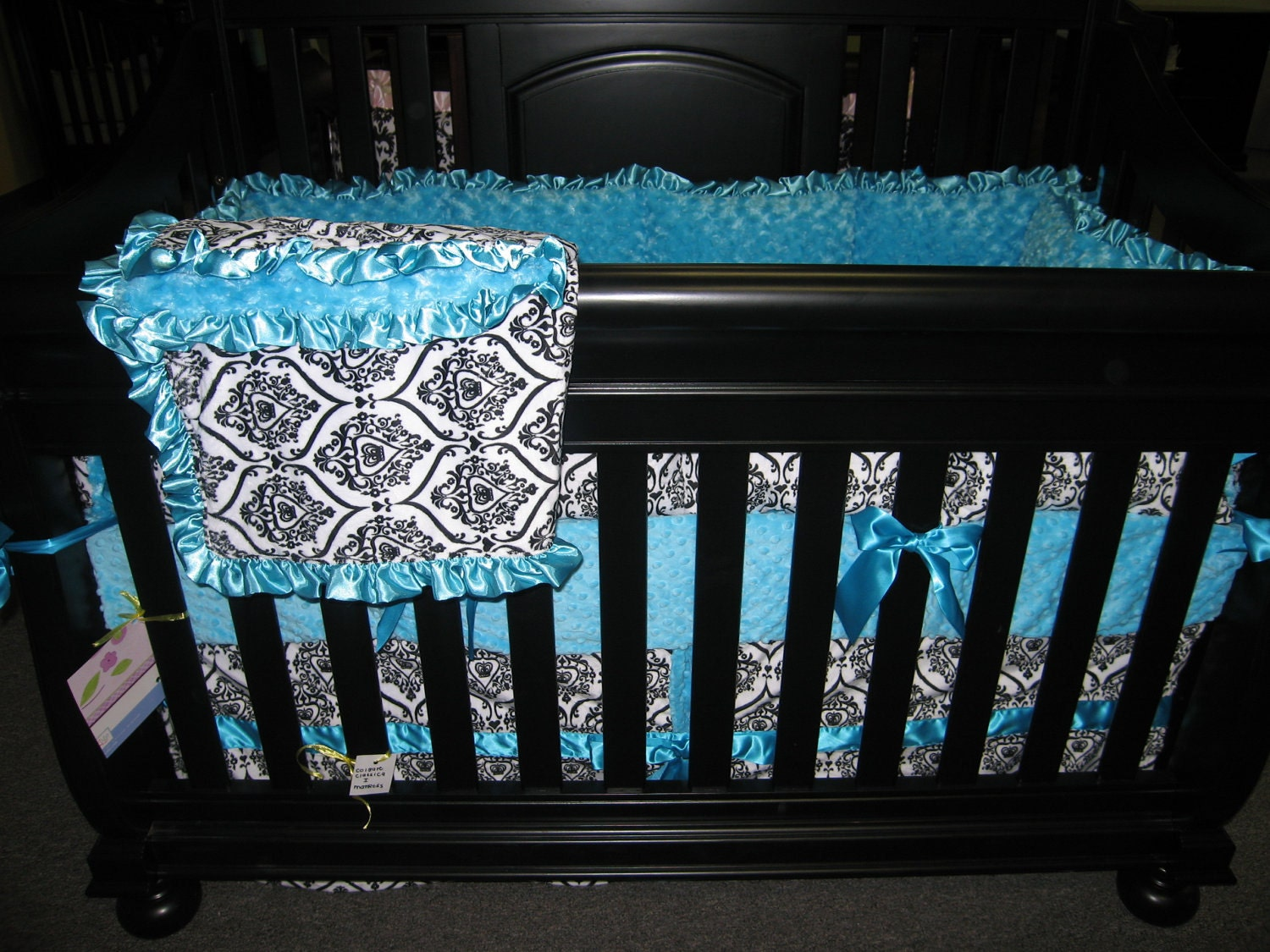 White Black Minky Crown With Turquoise Baby Bedding Set 4