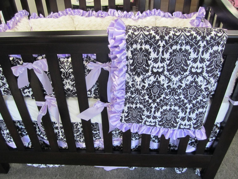 Black Damask Minky With Lavender Baby Bedding Set 4 Piece