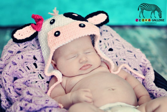 Miss MOO baby Girl Cow Earflap Hat custom order sizes newborn to preteen/adult