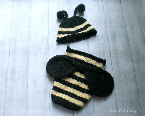 Bumble bee hat and diaper cover outfit with wings size newborn IN STOCK ready to ship boy girl baby