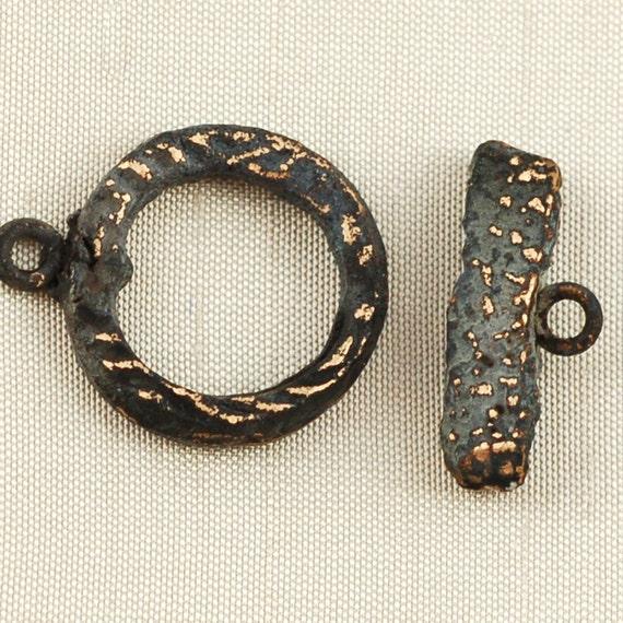 Bronze Toggle Clasp Handmade with Dark Patina