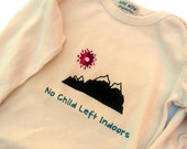"""Organic Baby Bodysuit 0-3 months SHORT Sleeve """"No Child Left Indoors"""" with mountains - Natural Color Handprinted Screen Print"""