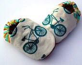 Organic Cotton Bicycle Baby Shoes- Eco Friendly Unisex Cruiser Blue Bike - Teal Slippers 0 3 6 12 18 months - Baby Clothes Gift for Baby