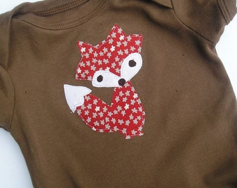 Organic Cotton Fox Applique Baby Bodysuit Children Clothing Acorn Brown 0 3 6 12 18 Months LONG Sleeve- Baby Clothes