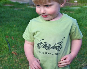 Cruiser Bike and Chariot Organic Sage Green 2T 4T or 6T SHORT Sleeve shirt- hand-drawn and printed That's How I Roll - Fair Trade Certified