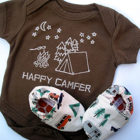 6-12 months Happy Camper Organic Gift Set for Baby-  Brown Bodysuit LONG sleeves and matching Organic Camping Shoes