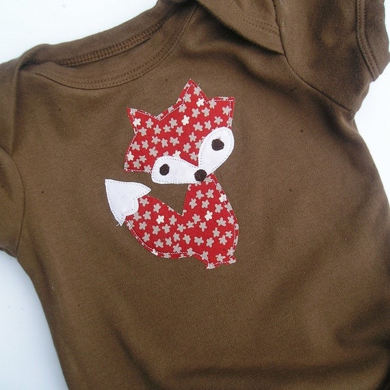 0-3 Month Long Sleeve Organic Cotton Fox Applique Baby Bodysuit Children Clothing Acorn Brown