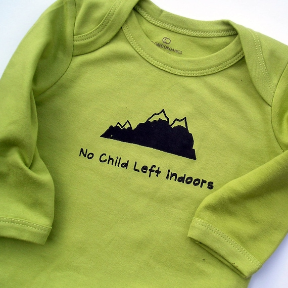 """Organic Kiwi Green Bodysuit with """"No Child Left Indoors"""" and mountains - Handprinted Screen Print 0 3 6 12 18 months Long Sleeve"""