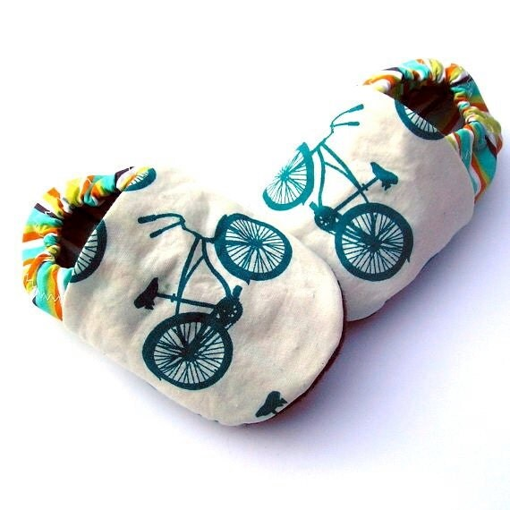 Baby Bicycle Shoes- 6 -12 months Organic Unisex Cruiser Bike for Boy or Girl in Teal- Size handmade booties- Baby Clothes