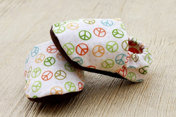 Newborn - 3 months Handmade Peace Baby Organic Handmade Crib Shoes- Baby Booties - Ready to Ship Fall Colors- Baby Clothes