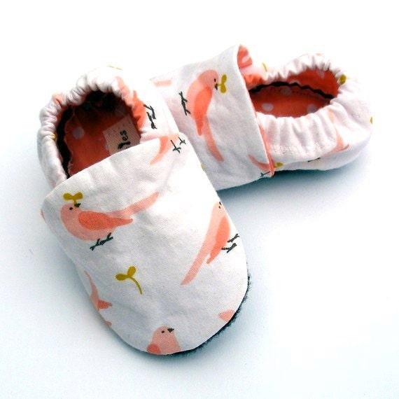 Months Baby Shoes Girl Organic Cotton Pink Bird