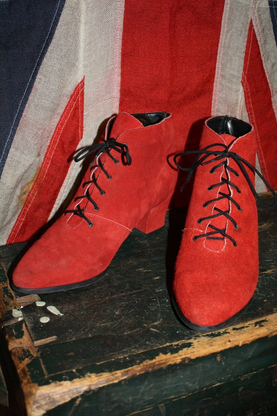RED Suede Booties - Lace-Up Granny Shoes - High Heel - Women's 8 - 1980s - VINTAGE