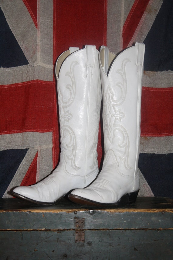 White Cowboy Boots Tall Leather Women S 7 5 8 Soft