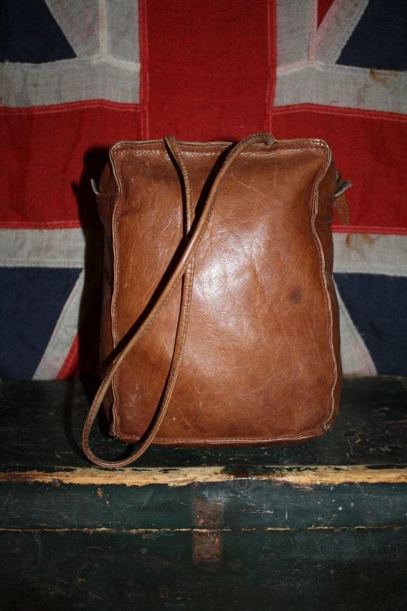 RESERVED for Sintin - LEATHER Bag - Brown Cognac - Purse Handbag - Long Straps - 1960s - VINTAGE