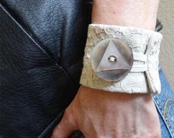 Grace, a textile art cuff