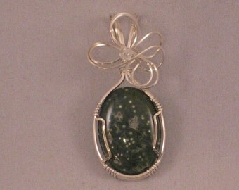 Green Ocean Jasper Stone Pendant - Wire Wrapped with Sterling Silver