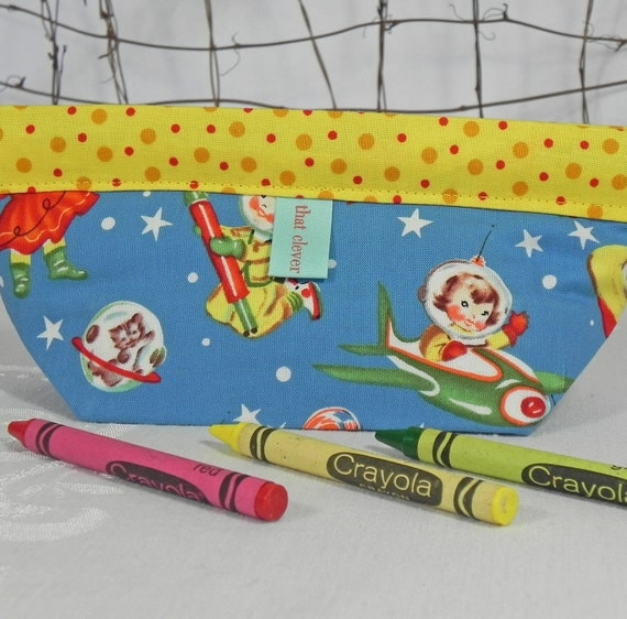 Notions Pouch, Cosmetic Bag: Retro Space Cadets, Blue & Yellow Trim - a Snappy Snapdragon Pouch