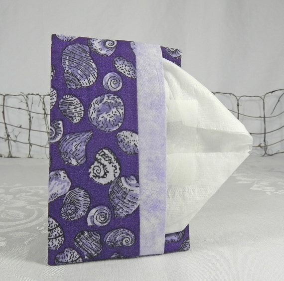 Pocket Tissue Holder for Purse, Backpack, Travel - Seashells