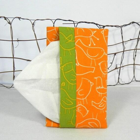 Pocket Tissue Holder - Stocking Stuffer - for Purse, Backpack, Travel  Tangerine Orange Birds