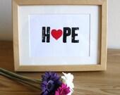"Letterpress Personalised ""Hope"" Print"
