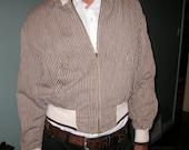 60s Brown Stripe Cropped Jacket / Vintage Unisex Zipper Jacket Small Medium