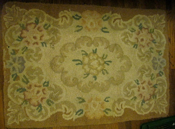 RESERVED for WENDY 40s Hooked Floral Rug / Small Vintage Rug / SALE / 35 by 24 / Beige Brown Green, Mauve