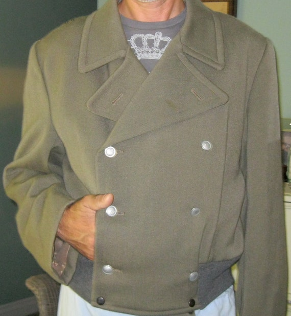Vintage Army Bomber Jacket,  Olive, Men Lg XL, Double Breasted