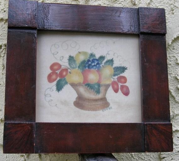 Folk Art / Flower Painting Mahogany Frame / Original Charming Small Painting / Signed