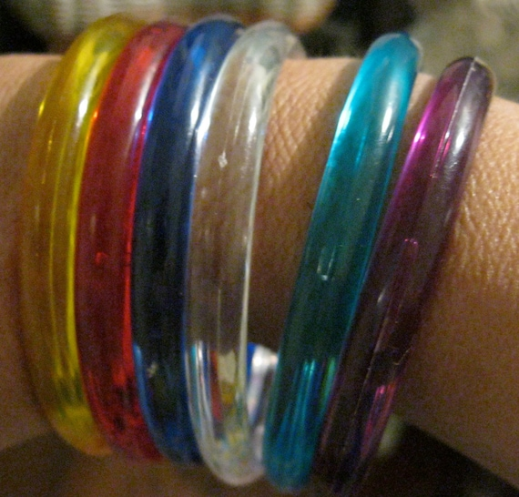 RESERVED 60s Bangle Bracelets Boho Plastic 6 Multi Colors,Red, Yellow, Turquoise