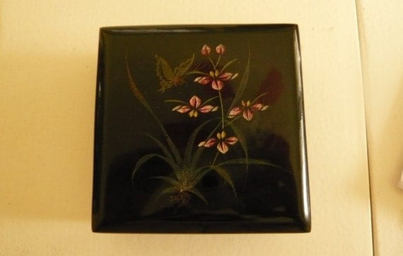 Lacquer Black Trinket Box / Japan Box / Hand Painted Butterfly, Flowers / SALE