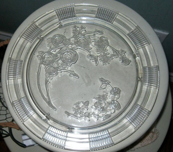 Depression Glass Roses Large Cake Plate Clear Excell