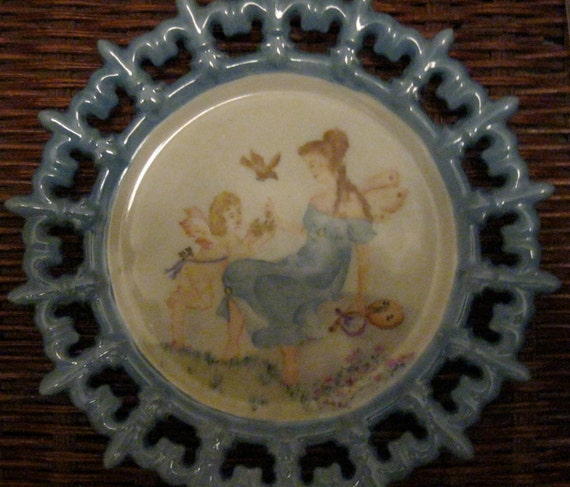 SALE 1950s Fairy Hanging Plate,Cherub, beautiful picture of Fairies, Childs Room