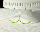 beaded hoop earrings- Simple lime green