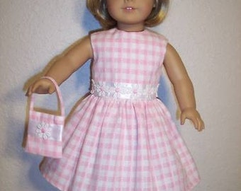 FREE SHIPPING....Pink Gingham Dress with daisies for the American Girl