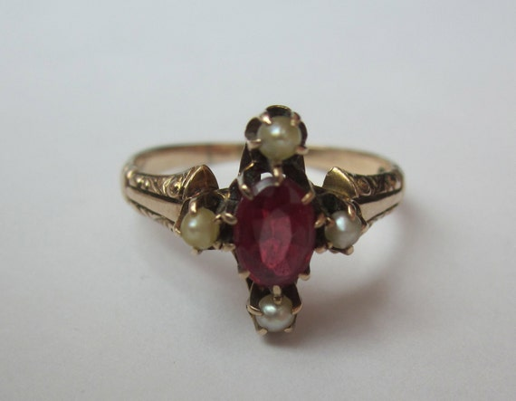 RESERVED for Sandy Antique Victorian Ruby and Pearl Swirly 10K Gold RIng