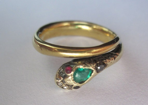 RARE Antique Victorian Emerald Diamond And Ruby Snake