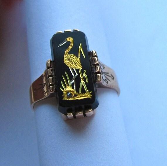 RARE Victorian MOTHERHOOD Gilt Stork 14K Ring