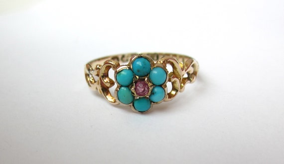 RESERVED for Garrett- Antique (1856) Pre Civil War Turquoise and Ruby Swirly Ring 12K