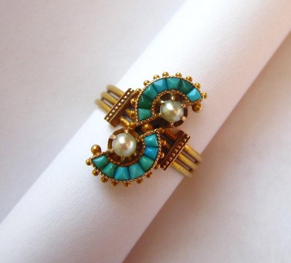 EXQUISITE Antique Victorian Turquoise Semi Circles 14K Ring