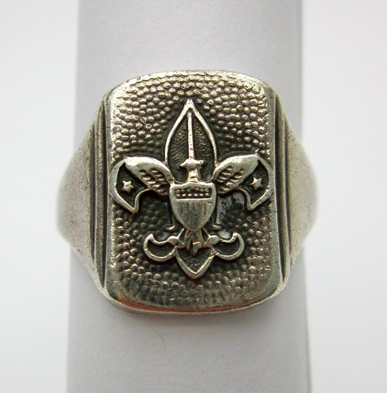 Vintage 1940 S Sterling Slilver Boy Scout Ring