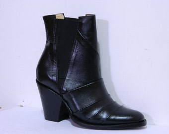 New men size Round toe ankle boots stylish plank vamps shaft with elastic