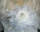 White  Feathered Jeweled Bouqet