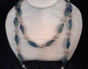 Blue/green and gold necklace