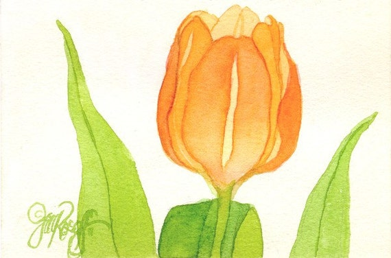 Single Orange Tulip, original watercolor