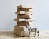 Vintage Handcarved Wooden Stack of Books