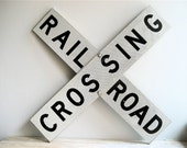 Large Vintage Metal Railroad Crossing Sign