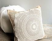 RESERVED for DEID Burlap Doily Pillow Cover