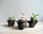 Set of Three Mini Cast Iron Pots