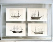 1920s Ship Models Prints (Set of Four)